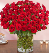 100 RED LONG STEM ROSES