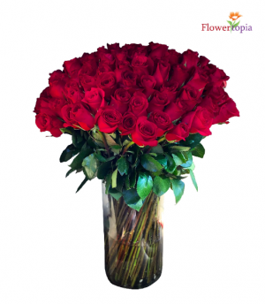 100 Red Roses in a Vase Roses Arrangement Bouquet in Miami, FL | FLOWERTOPIA