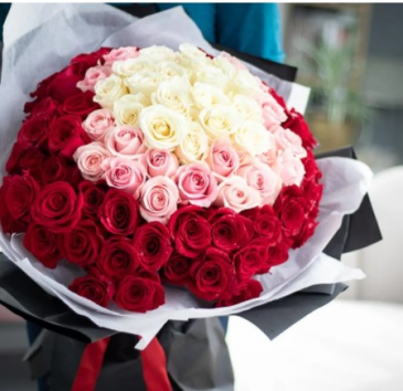 100 Roses Wrapped HAND TIED BOUQUET
