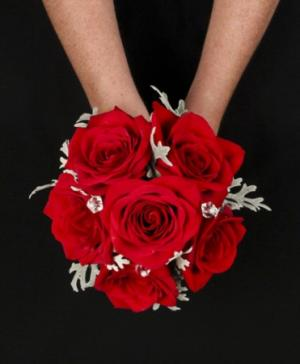 ROMANTIC RED ROSE Handheld Bouquet in Selma, NC | SELMA FLOWER SHOP