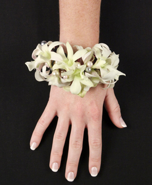 WHITE WRISTLET Prom Corsage in Abbotsford, BC | BUCKETS FRESH FLOWER MARKET