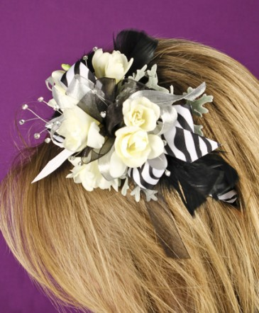 BLACK & WHITE DELIGHT Prom Hairpiece