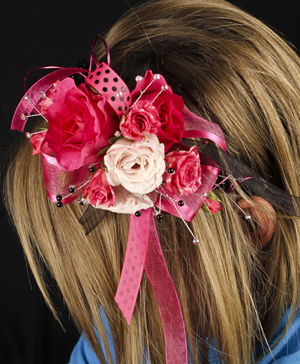 HOT PINK & BLACK Prom Hairpiece in Dallas, TX | Paula's Everyday Petals & More