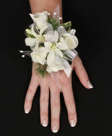 SPARKLING WHITE Prom Corsage