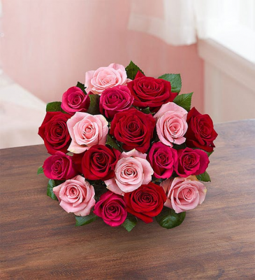 12-24 pink and red roses  Valentines hand Bouquet