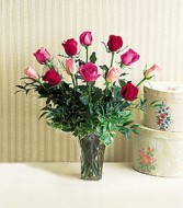 12 Assorted Color Roses with Accents