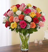 12 beautiful mixed colored roses