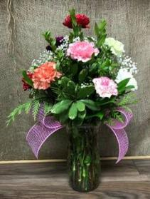 12 Colorful Carnations Vase arrangement