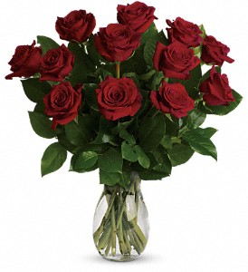 12 Classic Red Roses Vase Arrangement