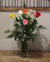 1/2 Dozen Mixed Colored Roses with Filler Roses of assorted colors and Filler s
