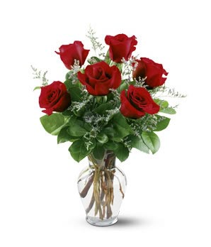 Half Dozen Red Roses Bouquet