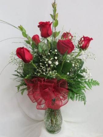 1/2 Dozen Red Roses Red Rose Vased Arrangement