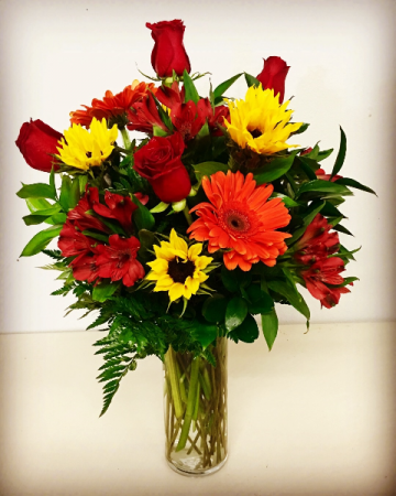 1/2 Dozen Red Roses Fall Design