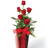 1/2 Dozen Red Roses 6 red roses in a red vase