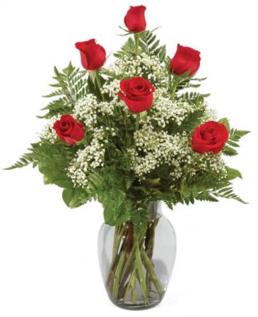1/2 dozen rose arrangement
