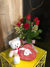 1/2 Dz Red Rose Valentines Special 6 Long Stem Red Rose's Teddy Bear Truffles