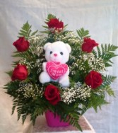 1/2 DZ  ROSES & PLUSH TOY Floral Arrangement