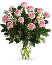 12 Long Stem Pink Roses Arranged Fresh Flowers
