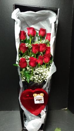 12 Long Stem Premium Roses Boxed Presentation Style PLUS Chocolates