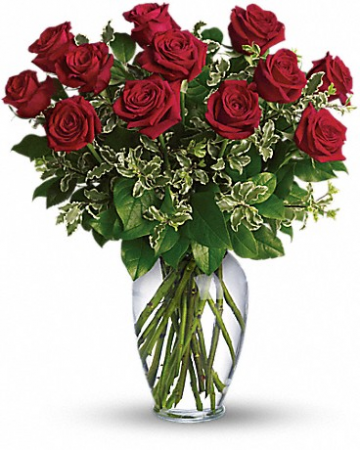 12 Long Stem Red Roses Arranged Fresh Flowers