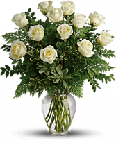 12 Long Stem white Roses Arranged Fresh Flowers