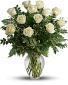 12 Long Stem white Roses Arranged Fresh Flowers