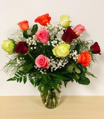 12 Mixed Color Rose Arrangement  Rose Arrangement