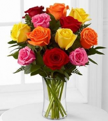 12 mixed roses vased   vased  roses