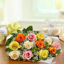 12 Mixed Roses Wrapped NO VASE