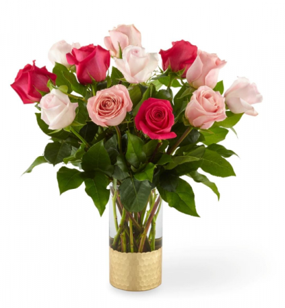 12 Pink Roses