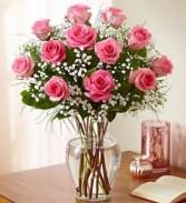 12 Pink Roses  Arranged