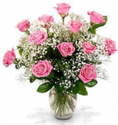 Pink Roses & Babies Breath Vase Arrangement