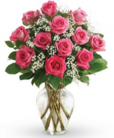 Pink Passion 12 Pink Roses In A Vase