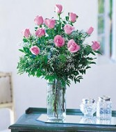 12 Pink Roses with Accents