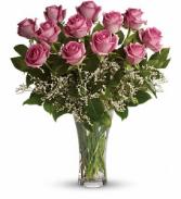 12 Precious Pink Roses  Vase Arrangement