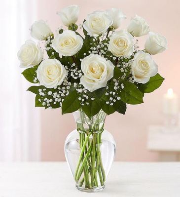 12 Premium Long Stem White Roses Vase Arrangement