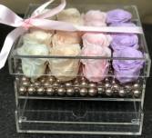 12 Preserved Roses in Acrylic box with drawer
