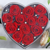 12 Preserved Roses in Heart shaped box