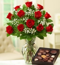 12 Long Stem Red Roses & Assorted Chocolate