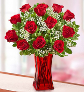 12 red roses in gathering red vase