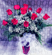12 Red Roses in Oval Glass Vase