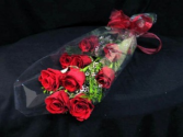 12 Red Roses in Wrap with Ribbon
