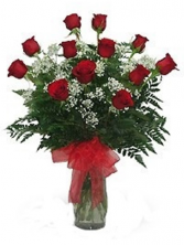 12 Red Roses  Vase Arrangement