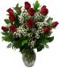 12 red roses vased