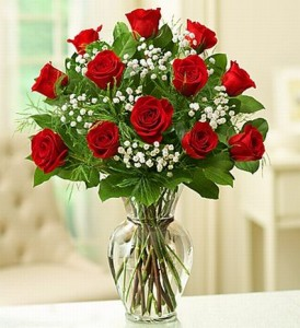 12 Red Roses With Baby's Breath - 987 Vase arrangement