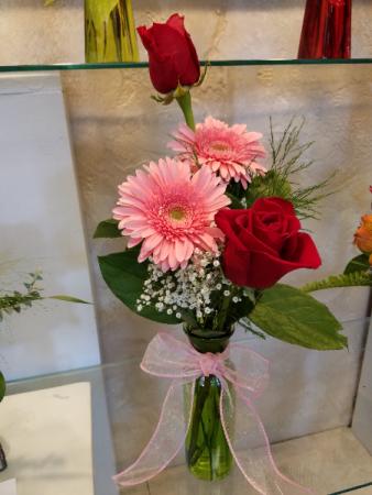 #12 Romantic red roses and pink gerbera