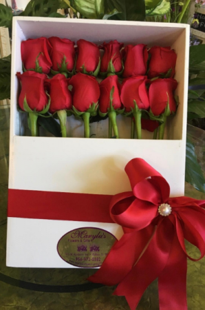 12 Rose Box Rectangular Wood Box