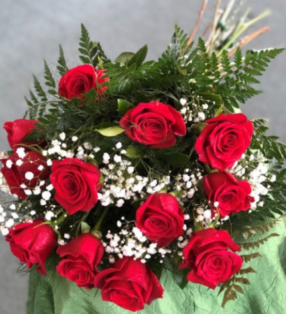 12 Roses & Baby's Breath Wrapped Cut Flower Bouquet