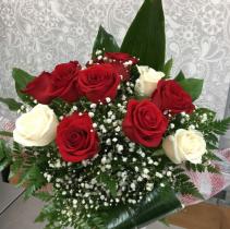 12 Roses Red & White  Roses