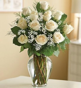 12 White Roses  Medium  or  Long Stem